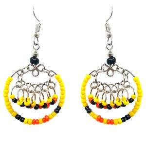 Native American inspired round seed bead hoop earrings with mini beaded metal inner hoop dangles in yellow, orange, and black color combination.