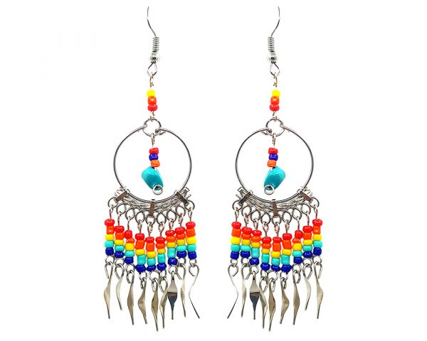Native American inspired round metal hoop chip stone earrings with seed bead and alpaca silver metal dangles in teal and rainbow multicolored color combination.