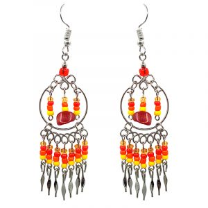 Native American inspired round metal hoop beaded chip stone earrings with seed bead and alpaca silver metal dangles in orange, red, and yellow color combination.