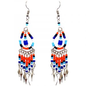 Native American inspired teardrop-shaped beaded chip stone earrings with long seed bead and alpaca silver metal dangles in blue, orange, light blue, and white color combination.