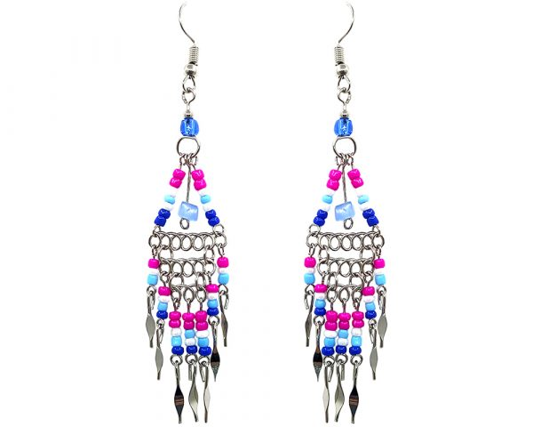 Native American inspired triangle-shaped beaded chip stone metal chain earrings with long seed bead and alpaca silver metal dangles in royal blue, hot pink, light blue, and white color combination.