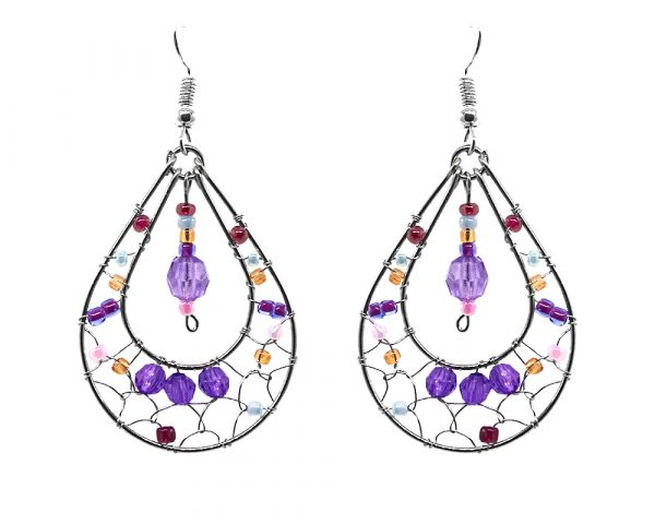 Teardrop-shaped seed bead and alpaca silver metal webbed earrings with crystal bead dangle in purple, gold, and pink color combination.