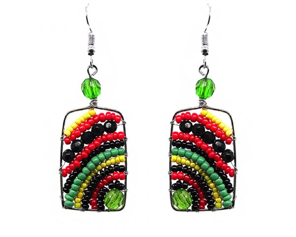 Rectangle-shaped striped seed bead, crystal bead, and alpaca silver metal earrings in Rasta colors.