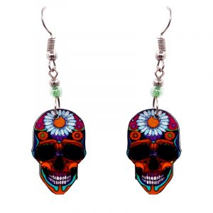 Day of the Dead floral sunflower sugar skull head acrylic dangle earrings with beaded metal hooks in orange, hot pink, black and white color combination.