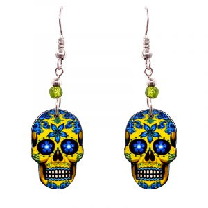 Day of the Dead floral sugar skull head acrylic dangle earrings with beaded metal hooks in yellow and light blue color combination.