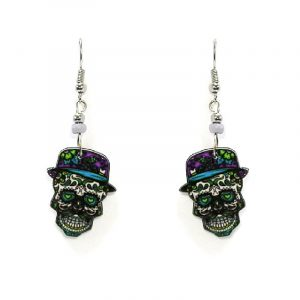 Day of the Dead New Orleans sugar skull head acrylic dangle earrings with beaded metal hooks in purple, lime green, turquoise, and white color combination.