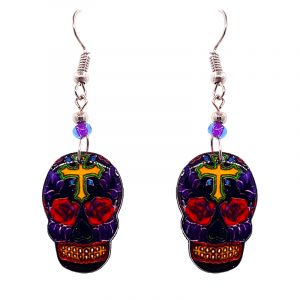 Day of the Dead cross sugar skull head acrylic dangle earrings with beaded metal hooks in purple, yellow, red, and black color combination.