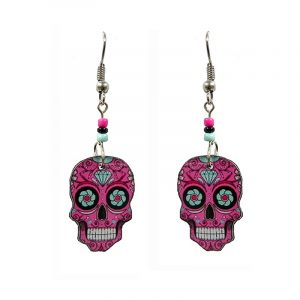 Day of the Dead diamond sugar skull head acrylic dangle earrings with beaded metal hooks in pink, light blue, and black color combination.