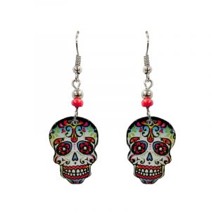 Day of the Dead faded sugar skull head acrylic dangle earrings with beaded metal hooks in white, light blue, red, and black color combination.