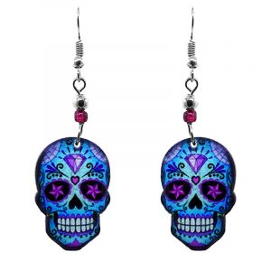Day of the Dead diamond sugar skull head acrylic dangle earrings with beaded metal hooks in light blue, purple, and black color combination.