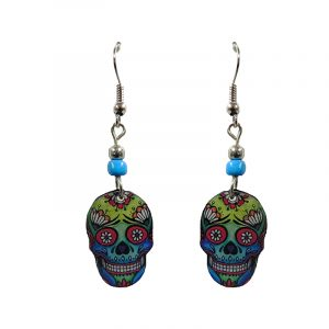 Day of the Dead faded sugar skull head acrylic dangle earrings with beaded metal hooks in lime green, blue, red, and black color combination.