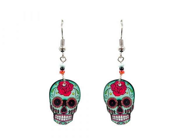 Day of the Dead floral rose sugar skull head acrylic dangle earrings with beaded metal hooks in mint, red, black, and white color combination.