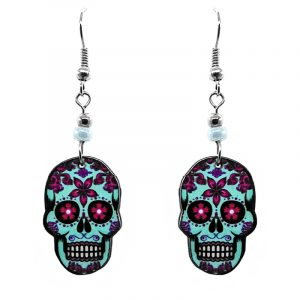 Day of the Dead floral sugar skull head acrylic dangle earrings with beaded metal hooks in mint, magenta purple, and black color combination.