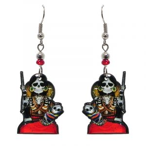 Day of the Dead armed mother and baby skeleton acrylic dangle earrings with beaded metal hooks in black, red, white, and gold color combination.