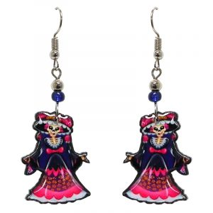 Day of the Dead Asian geisha skeleton acrylic dangle earrings with beaded metal hooks in hot pink, navy blue, white, and beige color combination.