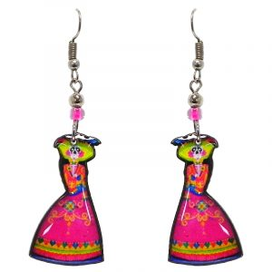 Day of the Dead Mexican dress skeleton acrylic dangle earrings with beaded metal hooks in hot pink, lime green, and turquoise color combination.