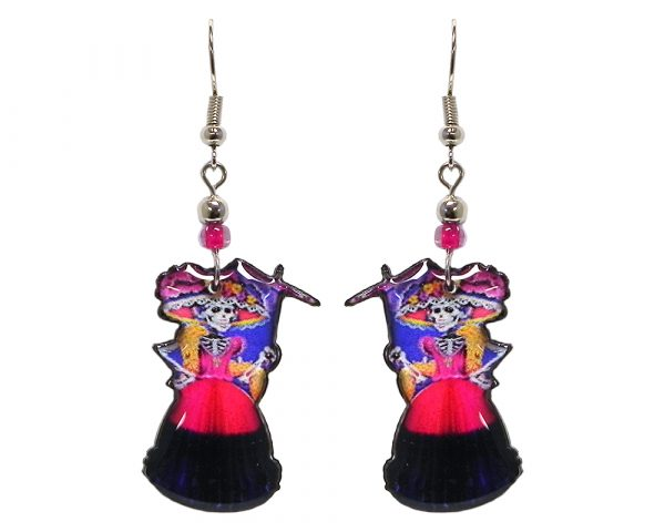 Day of the Dead floral hat skeleton acrylic dangle earrings with beaded metal hooks in hot pink, navy blue, gold, and black color combination.