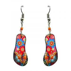 Floral pattern flip flop sandal acrylic dangle earrings with seed bead straps and beaded metal hooks in orange, red, and turquoise color combination.