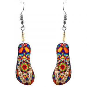 Mandala pattern flip flop sandal acrylic dangle earrings with seed bead straps and beaded metal hooks in orange and rainbow color combination.