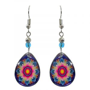 Teardrop-shaped New Age themed trippy flower graphic acrylic dangle earrings with beaded metal hooks in pink, blue, turquoise, and orange color combination.