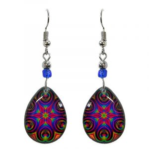 Teardrop-shaped New Age themed psychedelic flower graphic acrylic dangle earrings with beaded metal hooks in hot pink, blue, lime green, and orange color combination.