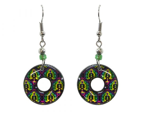Round-shaped New Age themed flower of life chakra graphic acrylic dangle earrings with hole and beaded metal hooks in purple, lime green, yellow, black, and rainbow color combination.