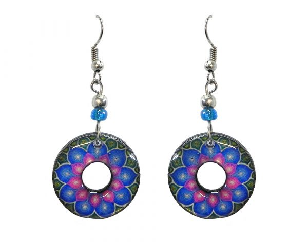 Round-shaped New Age themed flower graphic acrylic dangle earrings with hole and beaded metal hooks in light blue and pink color combination.