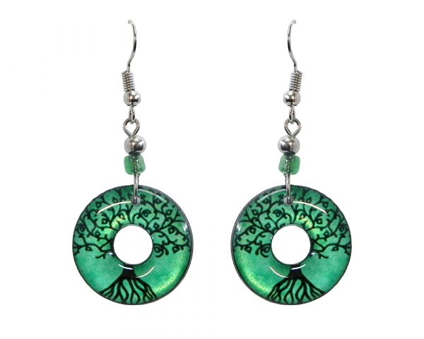 Round-shaped New Age themed tree of life graphic acrylic dangle earrings with hole and beaded metal hooks in mint green and black color combination.