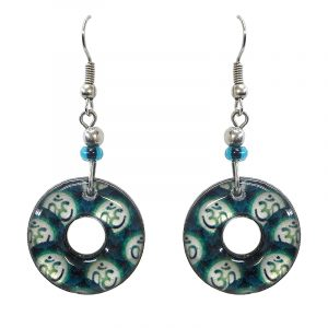 Round-shaped New Age themed om sign graphic acrylic dangle earrings with hole and beaded metal hooks in teal green and white color combination.