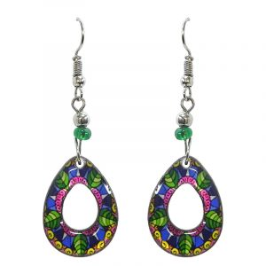 Teardrop-shaped New Age themed geometric flower graphic acrylic dangle earrings with hole and beaded metal hooks in pink, blue, and green color combination.