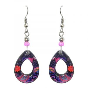 Teardrop-shaped New Age themed paisley graphic acrylic dangle earrings with hole and beaded metal hooks in purple, pink, light blue, and salmon color combination.