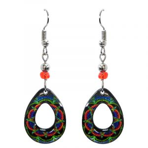 Teardrop-shaped New Age themed mandala graphic acrylic dangle earrings with hole and beaded metal hooks in neon multicolored color combination.