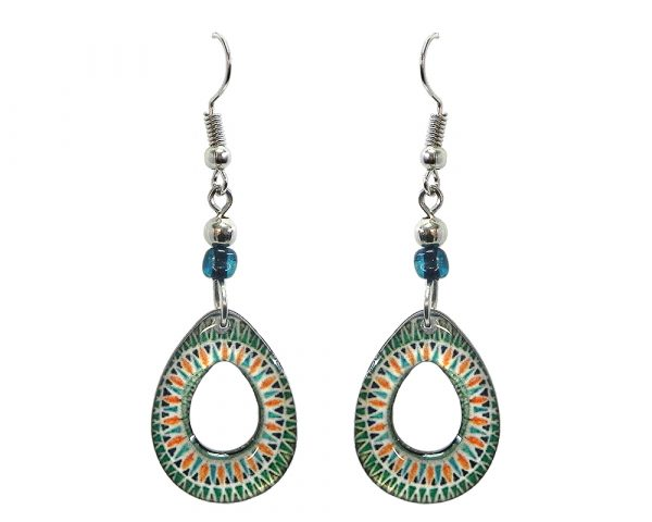 Teardrop-shaped New Age themed mandala graphic acrylic dangle earrings with hole and beaded metal hooks in teal green, white, and orange color combination.