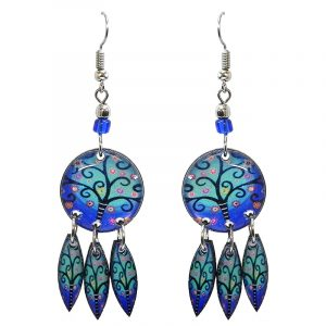 Round-shaped New Age themed floral tree of life graphic acrylic earrings with long matching dangles and beaded metal hooks in light blue, turquoise, pink, and black color combination.