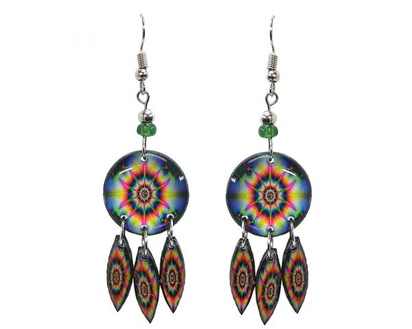 Round-shaped New Age themed psychedelic graphic acrylic earrings with long matching dangles and beaded metal hooks in dark blue, hot pink, green, and yellow color combination.