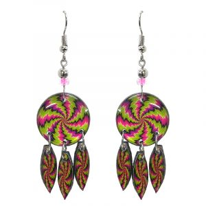 Round-shaped New Age themed psychedelic swirl graphic acrylic earrings with long matching dangles and beaded metal hooks in hot pink and lime green color combination.