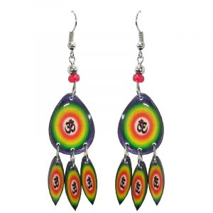 Teardrop-shaped New Age themed om sign graphic acrylic earrings with long matching dangles and beaded metal hooks in rainbow color combination.