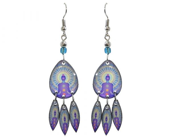 Teardrop-shaped New Age themed chakra graphic acrylic earrings with long matching dangles and beaded metal hooks in light blue, lavender purple, white, and rainbow color combination.