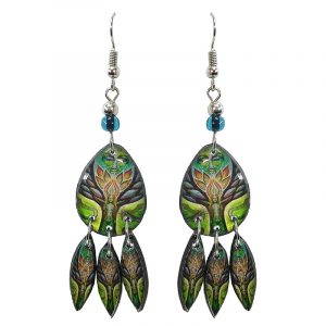 Teardrop-shaped New Age themed tree of life goddess graphic acrylic earrings with long matching dangles and beaded metal hooks in lime green, brown, and tan orange color combination.