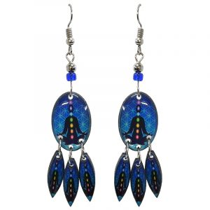 Oval-shaped New Age themed chakra graphic acrylic earrings with long matching dangles and beaded metal hooks in blue, black, and rainbow color combination.
