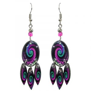 Oval-shaped New Age themed psychedelic spiral graphic acrylic earrings with long matching dangles and beaded metal hooks in magenta purple, mint green, and black color combination.