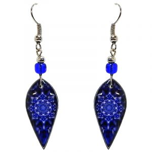 Ellipse-shaped New Age themed mandala graphic acrylic dangle earrings with beaded metal hooks in blue and dark blue color combination.