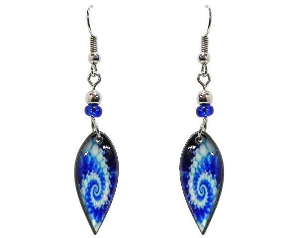 Ellipse-shaped New Age themed psychedelic spiral graphic acrylic dangle earrings with beaded metal hooks in blue and light blue color combination.