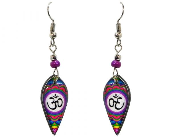 Ellipse-shaped New Age themed om sign graphic acrylic dangle earrings with beaded metal hooks in purple, white, and multicolored color combination.