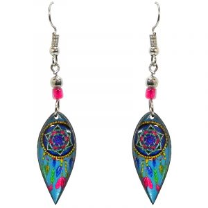 Ellipse-shaped New Age themed dream catcher graphic acrylic dangle earrings with beaded metal hooks in light blue turquoise and multicolored color combination.