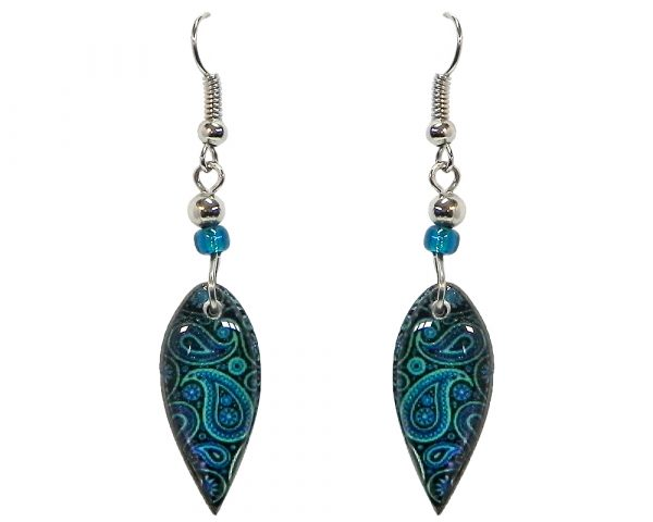 Ellipse-shaped New Age themed paisley graphic acrylic dangle earrings with beaded metal hooks in turquoise, teal, and black color combination.