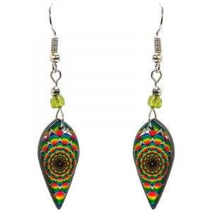 Ellipse-shaped New Age themed psychedelic graphic acrylic dangle earrings with beaded metal hooks in rainbow color combination.
