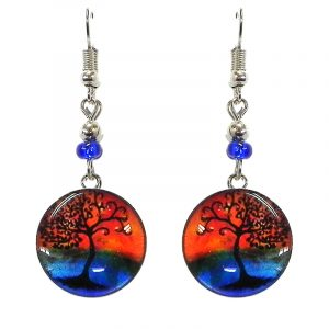 Round-shaped New Age themed sunset tree of life graphic acrylic dangle earrings with silver metal setting and beaded metal hooks in orange, blue and black color combination.
