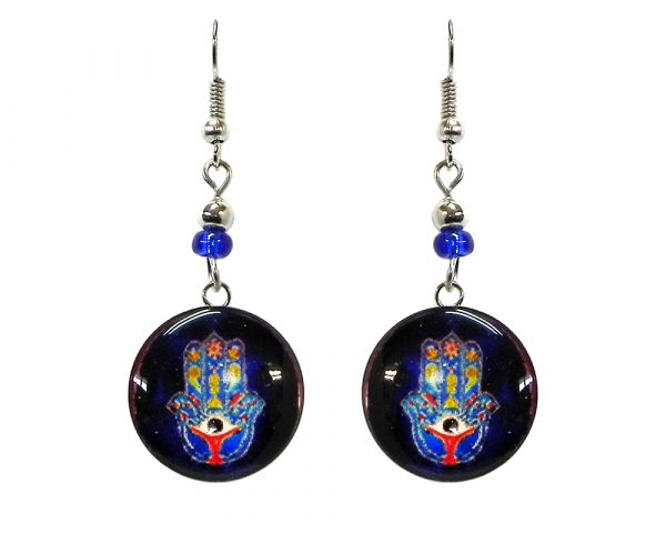 Round-shaped New Age themed hamsa hand graphic acrylic dangle earrings with silver metal setting and beaded metal hooks in blue, navy blue, and multicolored color combination.