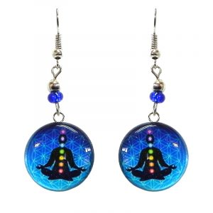 Round-shaped New Age themed chakra graphic acrylic dangle earrings with silver metal setting and beaded metal hooks in turquoise, blue, black, and rainbow color combination.